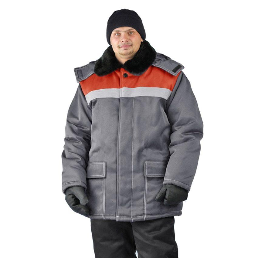 Куртка зимняя УРАЛ цвет т.серый-красный